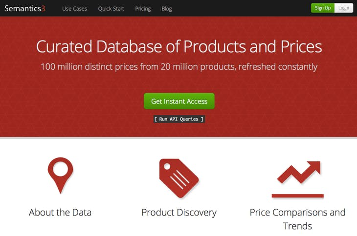 Semantics3 - APIs for Products Data