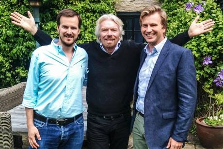 Transferwise co-founders Taavet Hinrikus and Kristo Kaarmann with Sir Richard Branson
