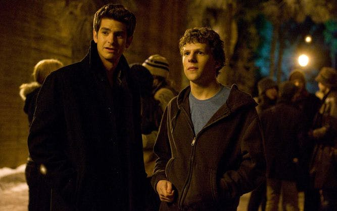 """Andrew Garfield, left, and Jesse Eisenberg stars as """"Mark Zuckerberg"""" in Columbia Pictures' THE SOCIAL NETWORK."""