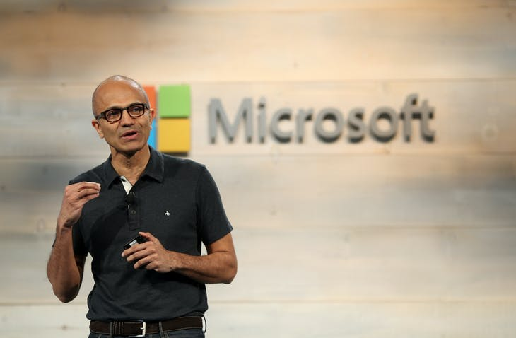 Microsoft CEO Satya Nadella speaks during a Microsoft cloud briefing event in San Francisco, California October 20, 2014. Microsoft Corp will provide cloud-computing and research applications to medical researchers working on the Ebola virus, the software company's chief executive said on Monday.REUTERS/Robert Galbraith  (UNITED STATES - Tags: SCIENCE TECHNOLOGY BUSINESS) - RTR4AVTB