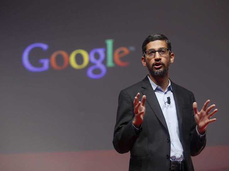 Sundar Pichai, Google's senior vice president of products, speaks during a presentation at the Mobile World Congress in Barcelona March 2, 2015. Ninety thousand executives, marketers and reporters gather in Barcelona this week for the telecom operators Mobile World Congress, the largest annual trade show for the global wireless industry.      REUTERS/Albert Gea (SPAIN  - Tags: BUSINESS SCIENCE TECHNOLOGY BUSINESS TELECOMS)   - RTR4RQWL