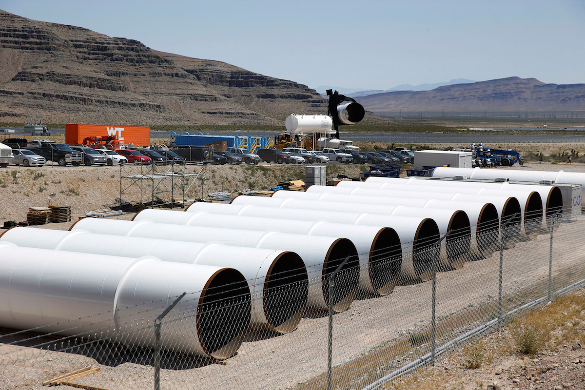 Tubes are shown in a storage area at Hyperloop One in North Las Vegas