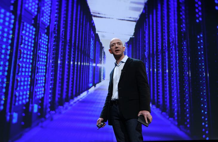 Amazon CEO Jeff Bezos speaks at a news conference during the launch of Amazon's new tablets in New York, September 28, 2011. Amazon.com Inc unveiled its long-awaited tablet computer on Wednesday with a $199 price tag, potentially cheap enough to give Apple Inc's iPad some serious competition for the first time.  REUTERS/Shannon Stapleton (UNITED STATES - Tags: BUSINESS SCIENCE TECHNOLOGY) - RTR2RYC0