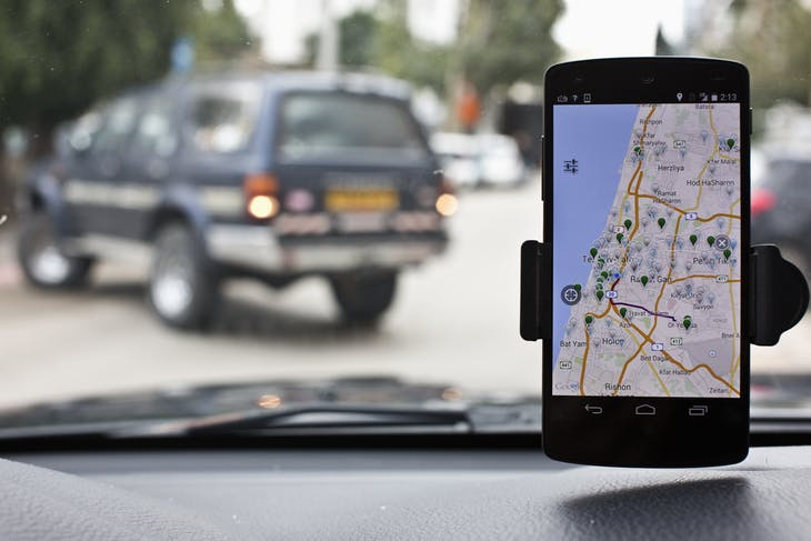 Anagog, an Israeli parking app, is seen on a smartphone in this photo illustration taken in Tel Aviv
