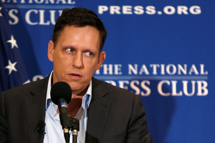 PayPal co-founder and Facebook board member Peter Thiel delivers his speech on the U.S. presidential election at the National Press Club in Washington, U.S., October 31, 2016.    REUTERS/Gary Cameron - RTX2R8EI