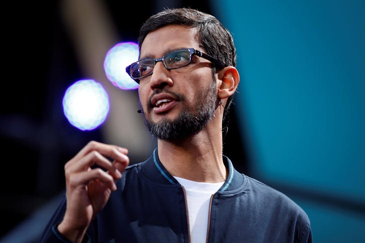 Google CEO Sundar Pichai delivers his keynote address during the Google I/O 2016 developers conference in Mountain View, California, U.S. May 18, 2016.  REUTERS/Stephen Lam - RTSEVZW