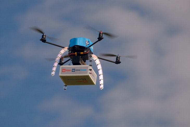An Australia Post drone is pictured during trials of delivering packages from the air in this handout picture taken in Melbourne