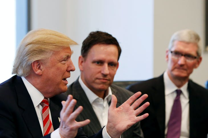 U.S. President-elect Donald Trump speaks as PayPal co-founder and Facebook board member Peter Thiel (C) and Apple Inc CEO Tim Cook look on during a meeting with technology leaders at Trump Tower in New York U.S., December 14, 2016. REUTERS/Shannon Stapleton - RTX2V25H