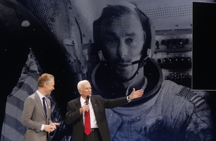 Scott Keogh, President of Audi of America (L), welcomes Capt. Gene Cernan, the last man to walk on the Moon, during the Audi presentation at the North American International Auto Show in Detroit, Michigan January 11, 2016.  REUTERS/Rebecca Cook - RTX21UV3