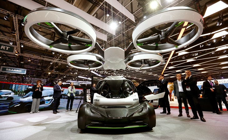 Pop.Up, a modular ground and air passenger concept vehicle system, is presented by Italdesign and Airbus during the the 87th International Motor Show...