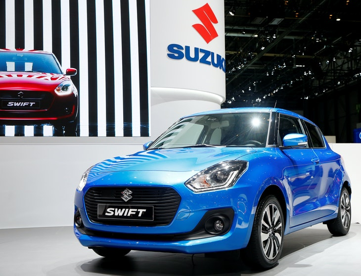 A Suzuki Swift car is seen during the 87th International Motor Show at Palexpo in Geneva
