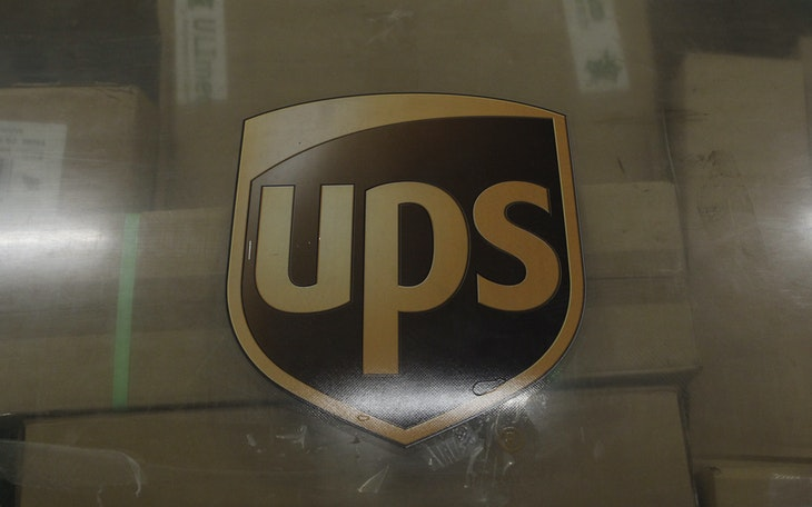 The emblem of  of United Parcel Service is seen at the cargo center at the Cologne/Bonn airport near Cologne