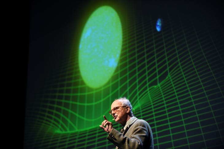 MIT Professor Emeritus of Physics Rainer Weiss delivers a lecture on using gravitational waves to explore the universe at the University of California Berkeley in Berkeley, California October 3, 2016.  REUTERS/Noah Berger - S1BEUEYUYSAA