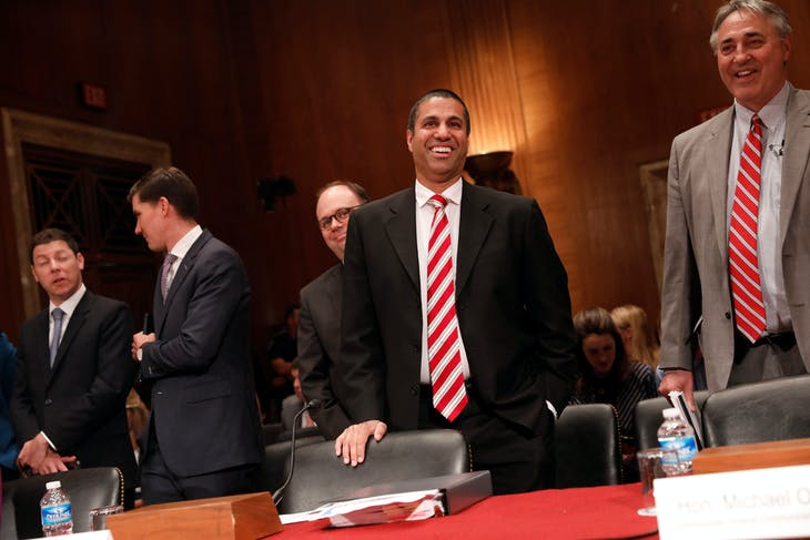 Ajit Pai, Chairman of the Federal Communications Commission, arrives to testify before a Senate Appropriations Financial Services and General Government Subcommittee on Capitol Hill in Washington, U.S., June 20, 2017. REUTERS/Aaron P. Bernstein - RC1384ED5D40