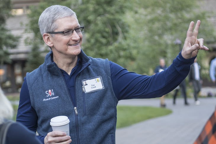 Tim Cook, chief executive officer of Apple Inc., gestures while arriving for the morning session of the Allen & Co. Media and Technology Conference in Sun Valley, Idaho, U.S., on Wednesday, July 6, 2016. Billionaires, chief executive officers, and leaders from the technology, media, and finance industries gather this week at the Idaho mountain resort conference hosted by investment banking firm Allen & Co. Photographer: David Paul Morris/Bloomberg via Getty Images