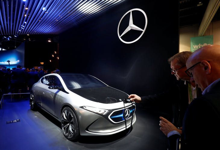 A Mercedes-Benz Concept EQA is displayed at the Las Vegas Convention Center during the 2018 CES in Las Vegas, Nevada, U.S. January 9, 2018. REUTERS/Steve Marcus - RC1F7510DD90