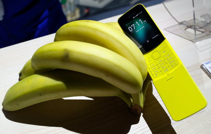 The new Nokia 8110 is displayed during the Mobile World Congress in Barcelona, Spain February 25, 2018. REUTERS/Yves Herman - RC1533EFE0B0