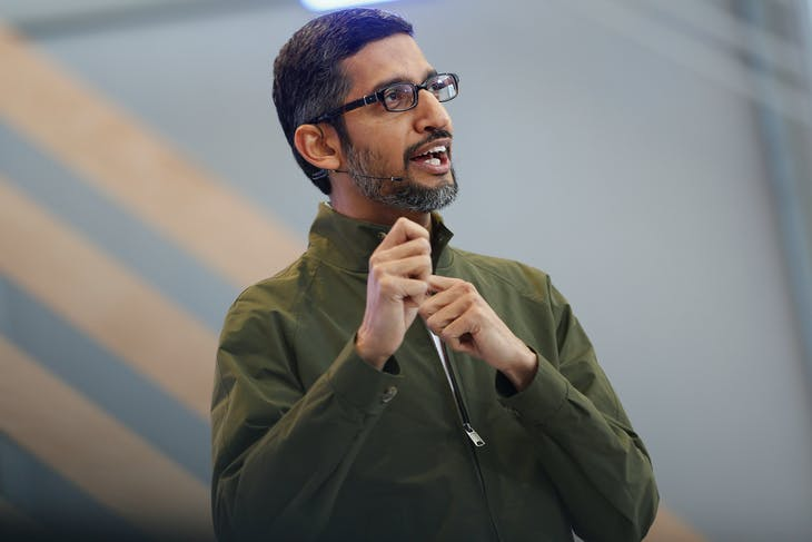 Google CEO Sundar Pichai speaks on stage during the annual Google I/O developers conference in Mountain View, California, May 8, 2018. REUTERS/Stephen Lam - RC112E7C61C0