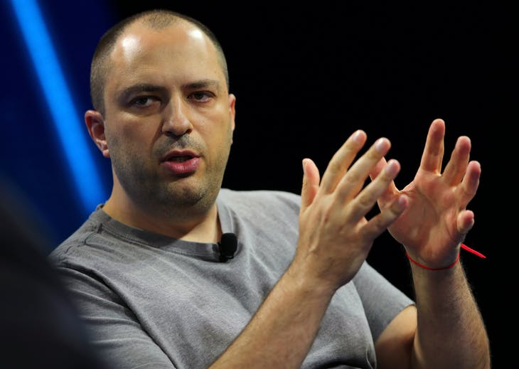 Jan Koum, co-founder and CEO of WhatsApp speaks at the WSJD Live conference in Laguna Beach, California October 25, 2016.     REUTERS/Mike Blake  - S1AEUJBSFSAA