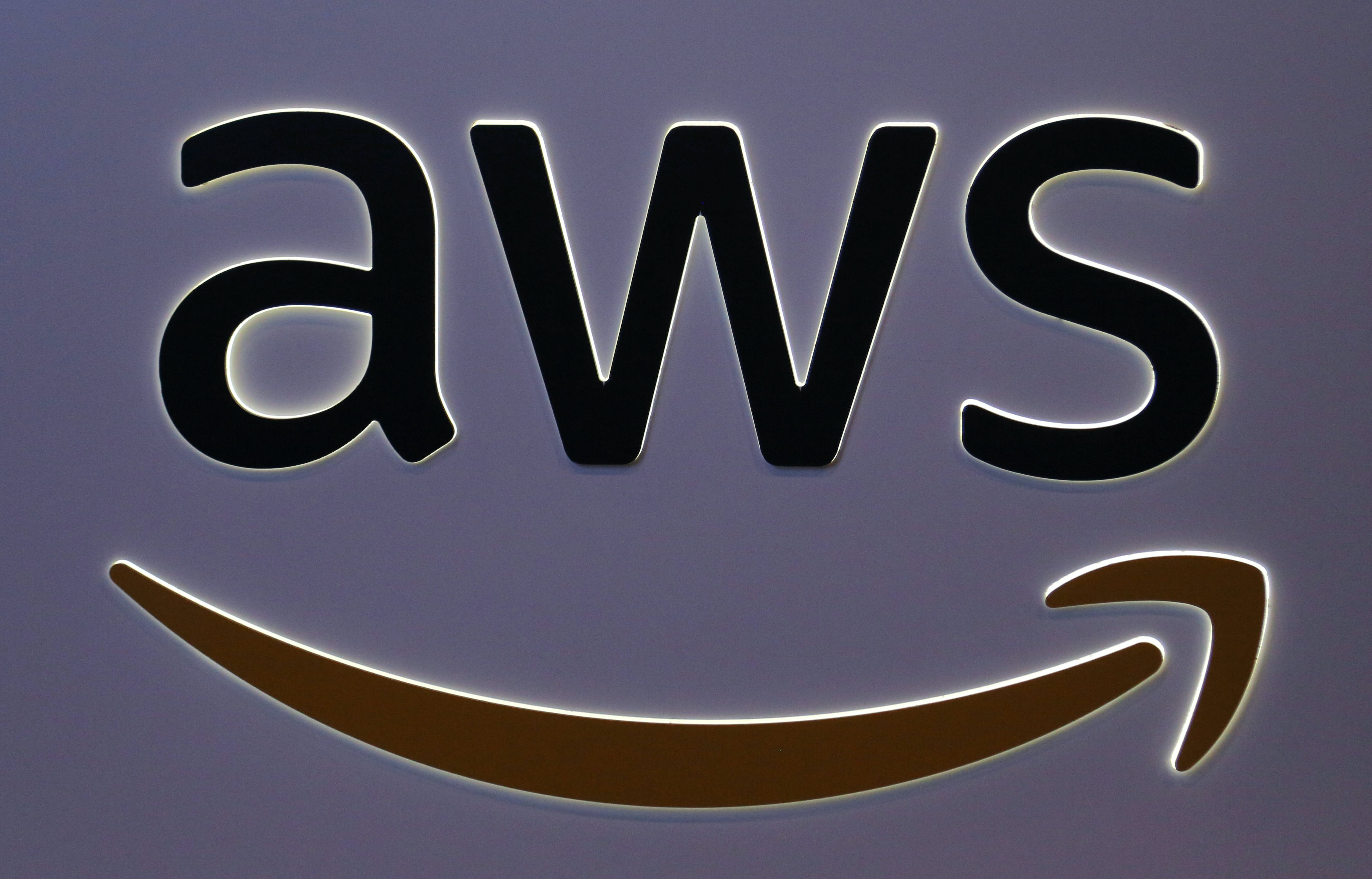 The logo for Amazon Web Services (AWS) is seen at the SIBOS banking and financial conference in Toronto, Ontario, Canada October 19, 2017. Picture taken October 19, 2017. REUTERS/Chris Helgren - RC1C46A72200
