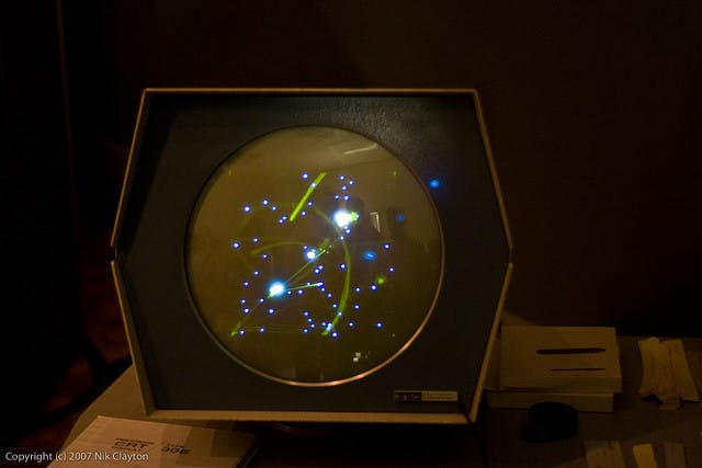 SpaceWar!, being played on the Computer History Museum's restored PDP-1