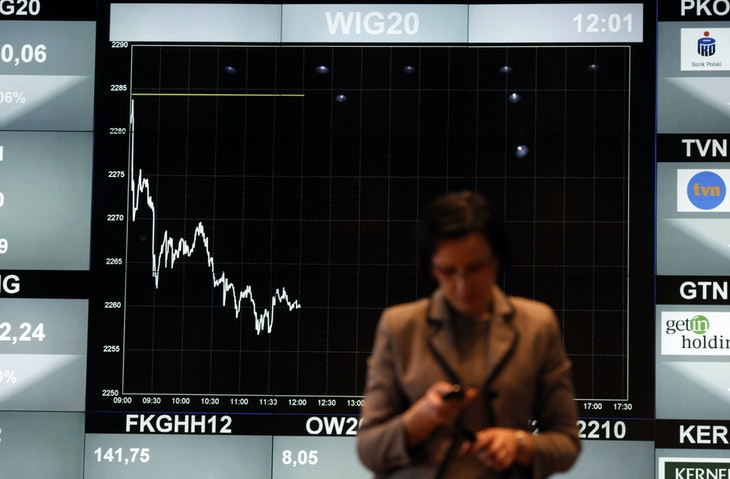 A woman stands in front of the WIG20 index on a screen at the Warsaw Stock Exchange March 6, 2012.The stock exchange screen is seen switched to black and white during two days of mourning in Poland after train crash on Saturday night. REUTERS/Kacper Pempel (POLAND - Tags: BUSINESS) - GM1E8361Q0W01