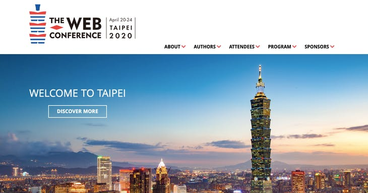 "The Web Conference 2020 <a href=""https://www2020.thewebconf.org/"" target=""_blank"">官網</a>截圖"