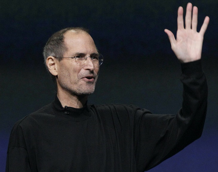 Apple Inc. Chairman and CEO Steve Jobs waves to his audience at an Apple event at the Yerba Buena Center for the Arts Theater in San Francisco. Apple Inc. on Wednesday, Aug. 24, 2011 said Jobs is resigning as CEO, effective immediately..jpeg